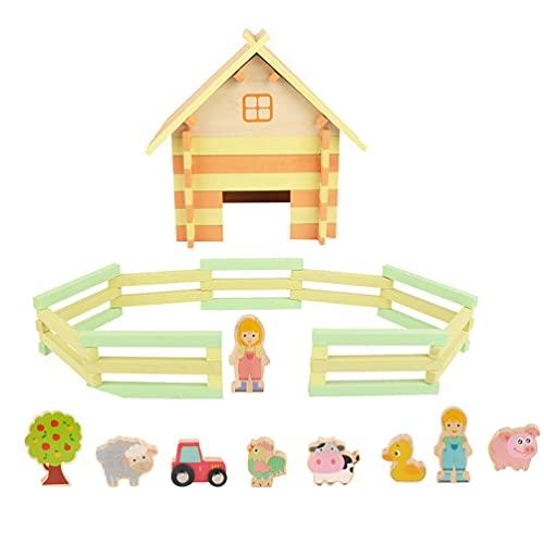 Balacoo Juguete de Granja de Madera Modelo de Granja en Miniatura Granja de Animales de Madera Juego de Figuras Juguetes Interactivos Juguete Educativo Temprano