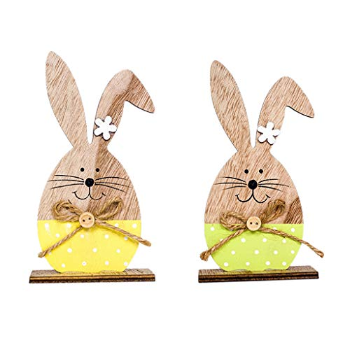 Iusun Easter Decorations Wooden Cute Rabbit Shapes Home Table Top Decor Pendant Wedding Festival Holiday Christmas Halloween Party Valentine's Day New Year Ornaments Craft Gifts 2PCS (A)