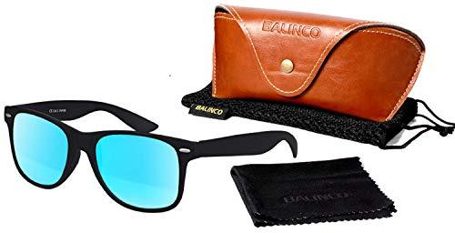 Balinco Hochwertige Polarisierte Nerd Rubber Sonnenbrille im Set (24 Modelle) Retro Vintage Unisex Brille mit Federscharnier (Black-Turquoise)