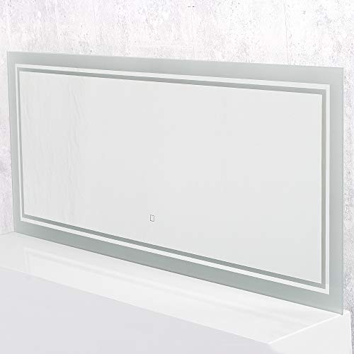 LEBENSwohnART KROLLMANN LED-Badspiegel TISSI 120x50cm Touch Sensor Wandspiegel mit Beleuchtung