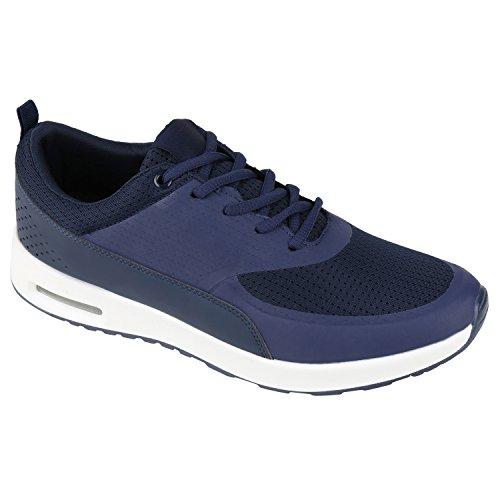 stiefelparadies Damen Sport Runners Sneakers Lauf Fitness Trendfarben Sportliche Schnürer Schuhe 130804 Dunkelblau Weiss 41 Flandell