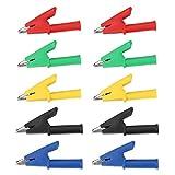 Ginorgee Clip de Prueba de Seguridad - 10 unids/Set P2002 20A 5 Colores 4 mm Clip de Prueba de Seguridad de cocodrilo Banana Jack para multímetro 380V
