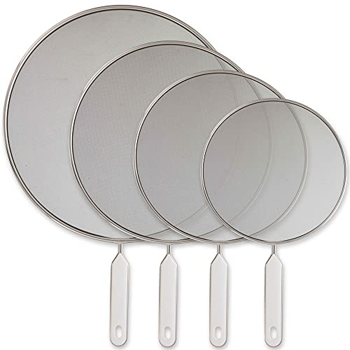 U.S. Kitchen Supply Set of 4 Classic Splatter Screens, 13', 11.5', 10', and 8' - Stainless Steel Fine Mesh, Comfort Grip Handles - Use on Boiling Pots Frying Pans - Grease Oil Guard, Safe Cooking Lid