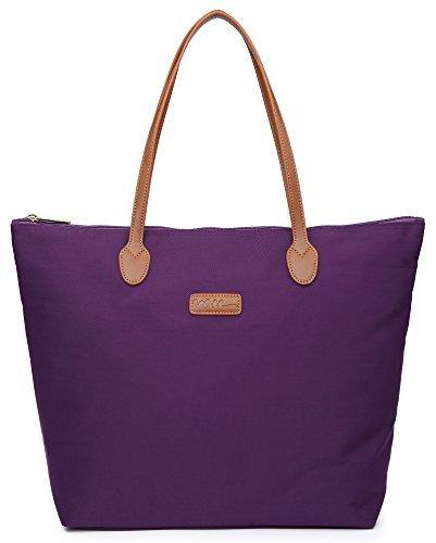 NNEE Water Resistant Light Weight Nylon Tote Bag Handbag - Medium Size, Purple