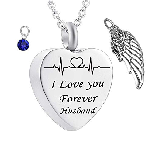 Daesar Stainless Steel Necklace Pendant Women and Men Urn Necklace Angel Wing Heart ECG Engraved Urn Necklace I Love You Forever Husband Personalized Necklace Birthstone September