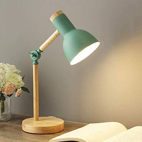 Mengjay Lámpara de escritorio creativa nórdica, lámpara de noche para dormitorio moderno, lámpara de mesa de lectura con protección ocular para niños, Luz de noche ajustable E27 (Verde)
