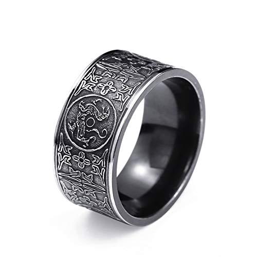 Lucky Meet Anillo para hombre, anillo gitano tallado, anillo de sello vintage, anillos de piedra artificial góticos clásicos clásicos, regalo para él, anillo de acero inoxidable para hombre