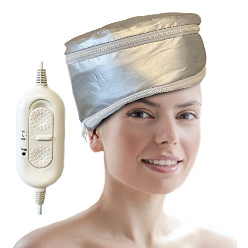 Hair Steamer Heating Cap for Deep Conditioner, Hair SPA Cap, Adjustable Height Hair Thermal Treatment Cap with 2 Zippers, 2 Mode Temperature Control Electric Hair Cap, Silver