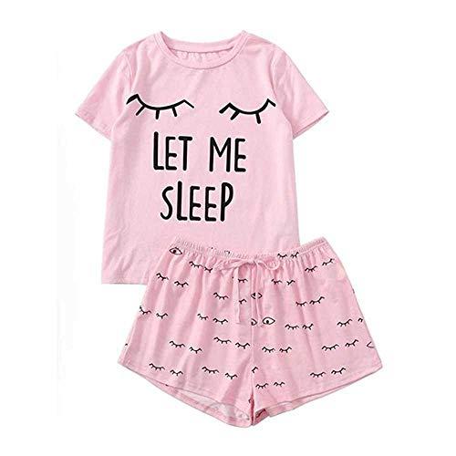 Pijama para Mujer Conjunto de Mujer Pantalones Cortos Casuales Camiseta de algodón con Estampado de Manga Corta Ropa de Dormir Conjunto de Pijama