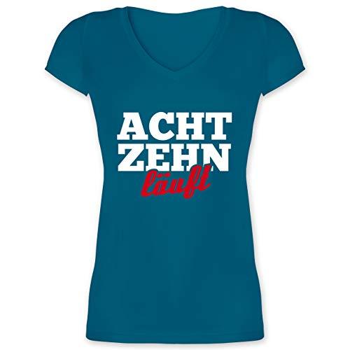 Geburtstag - 18. Geburtstag läuft - M - Türkis - Geschenk - XO1525 - Damen T-Shirt mit V-Ausschnitt