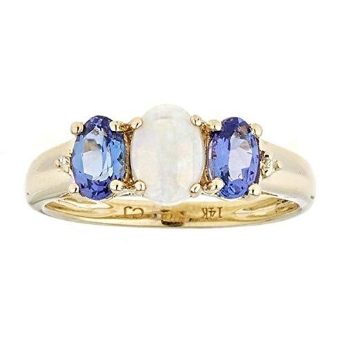 Gin & Grace 14K oro amarillo ópalo natural, genuino y tanzanita diamante natural (I1, I2) 3 Piedra Proponer Promise Ring para la Mujer