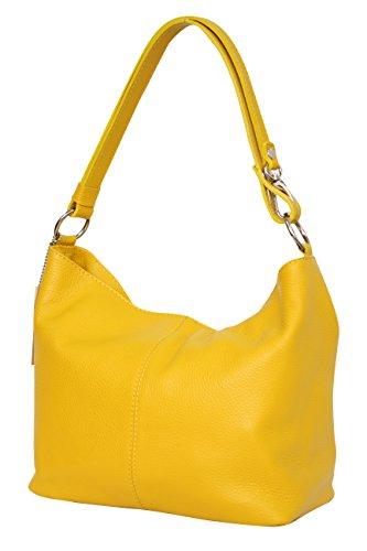 Ambra Moda GL005 - Borsa con tracolla, borsa a mano in pelle, borsa da spalla, hobo bag da donna, Giallo (Gelb), M