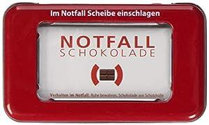 Das ist Pocket Chocolate Notfall Schokolade - Verhalten im Notfall: Scheibe Einschlagen und die Schokolade aus der Schutzhülle wickeln und den Riegel verzehren. Bei Bedarf Dosis erhöhen. Vollmilchschokolade in Blechdose Schokoladen-mitbringsel zum sc...