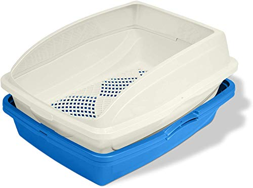 lg litter boxes Van Ness CP5 Sifting Cat Pan/Litter Box with Frame, Blue/Gray (2 Pack)