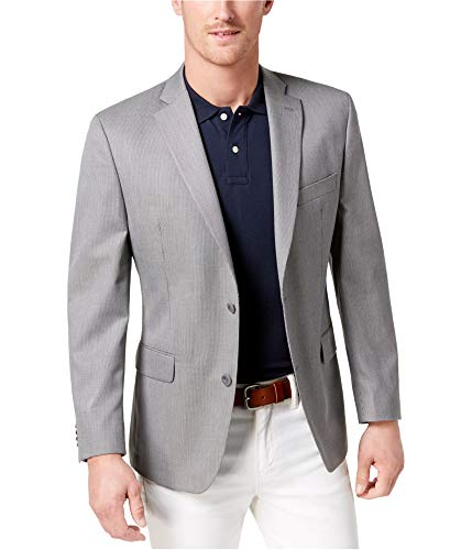 Michael Kors Mens Houndstooth Two Button Blazer Jacket, Grey, 48 Regular