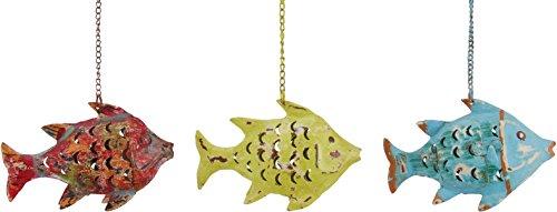 Ziegler Fisch Windlicht Laterne Gartendeko Figur Dekofigur Metall 224029 (Gelb-Grün)