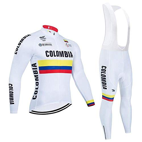 Crossrider - Country Jerseys - Love Your Country! Cycling Jerseys & Sets Collection - Team Colombia Men's Long Sleeve Cycling Jersey & Pant Set - L - White