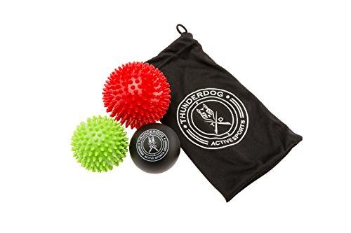 Thunderdog 2X Igelball und 1x Massageball mit Noppen und Lacrosse Ball - für Tiefenmassage von Verspannungen - als Set