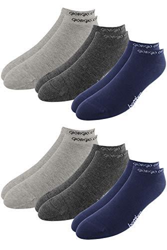 Giorgio Capone Premium bamboe sneakersokken, 6-pack, super zacht, hoog draagcomfort, lichtgrijs, antraciet, donkerblauw: 39-42, 43-46