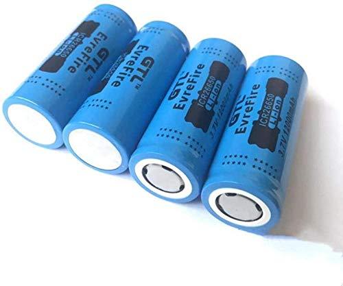 Batería de Litio 26650 12000mAh 3.7V para Linterna LED o Equipo electrónico Batería Puntiaguda-4 Piezas-4 Piezas