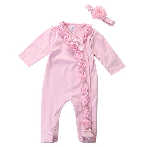 Honganda - Pijama para bebé con mangas largas de encaje floral + diadema Rosa 70 cm(0-6 meses)