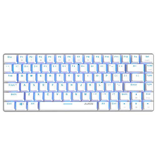 Epomaker Ajazz AK33 82 Keys Mechanical Keyboard with Blue Switches RGB Backlit for Gamer, Programmer, Office, Work for Android Windows (Blue Backlit Blue Switch White)
