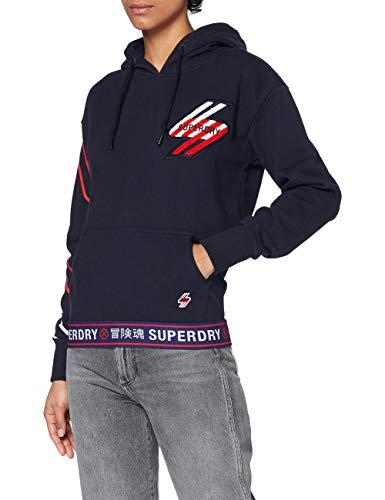 Superdry Womens Sportstyle Graphic Hood Hooded Sweatshirt, Deep Navy, L