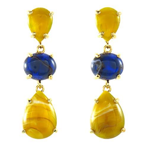 TEMPUS FUGIT. Pendientes Largos. Diseño de Moda. Chapados en Oro, con piedras de resina de colores muy brillantes, Incluye caja para regalo