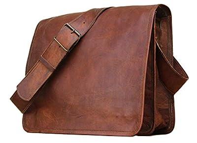 Sacoche Besace en Cuir Sacoche Ordinateur Portable, Cartable, Sac à bandoulière véritable à bandoulière (11X9X3)