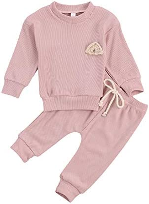 Infant Baby Girl Boy Solid Knit Outfit Rainbow Embroideried Shirt Blouse Top Drawstring Pants product image