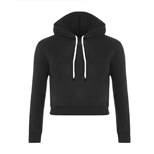 Mujeres Sexy Sudaderas con Capucha Cortas Otoño Invierno Deporte Casual Suéter Pullover Crop Tops Sudadera Cómodo Fácil de Combinar Negro, M Uniquelove