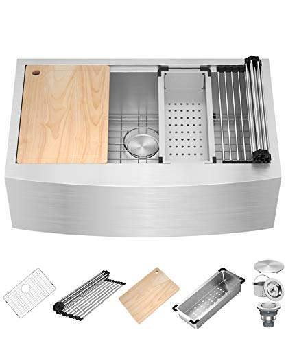 X Home 33 x 20.25 Inch Farmhouse Kitchen Sink,16 Gauge Stainless Steel Apron Front Sink, Single Bowl Kitchen Workstation Sinks With All Sink Accessories