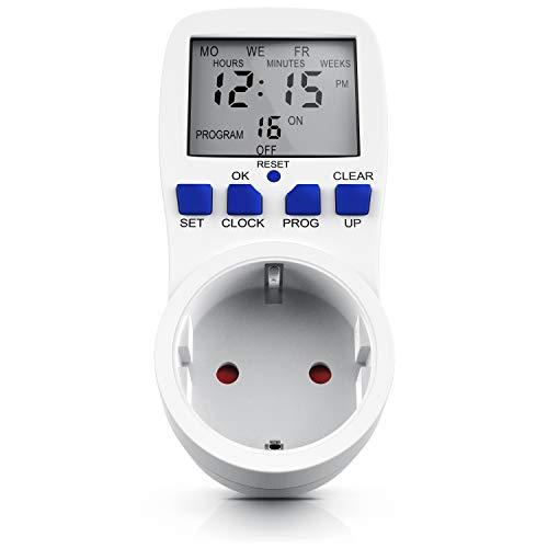 Digitale Zeitschaltuhr mit LCD Display - 15 Schaltprogramme - Timer mit Random Countdown Zufalls-Funktion - 3680 W - für den Innenbereich - Weiß