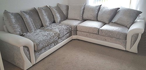 Shannon Corner 3+2 Seater Leather and Crushed Velvet Fabric White and Silver (Corner Sofa 2c2)