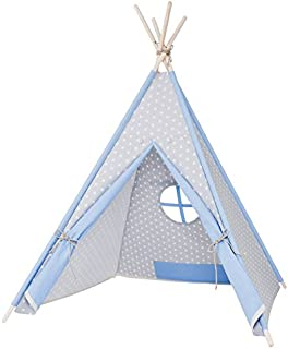 my-teepee Play Tent MT01gr, Made in Germany, natural materials, wooden sticks from Aspe, cover 100% cotton, Oekotex 100, height 4.9 ft.(150 cm), lockable window, colour: Blue/Grey with White Stars