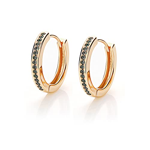 Orecchini a cerchio da donna, in argento e oro, con piccoli zirconi AAA, diametro 13 mm, per dormire da donna, modello 925, Metallo,