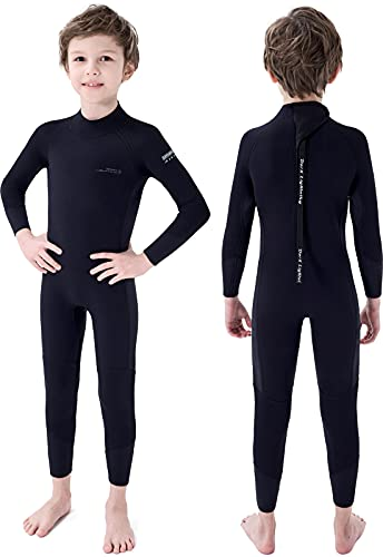 Dark Lightning 3/2mm Kids Wetsuit for Boys and Girls, Neoprene Thermal Swimsuit, Toddler/Junior/Youth One Piece Wet Suits for Scuba Diving,Black/Size 8
