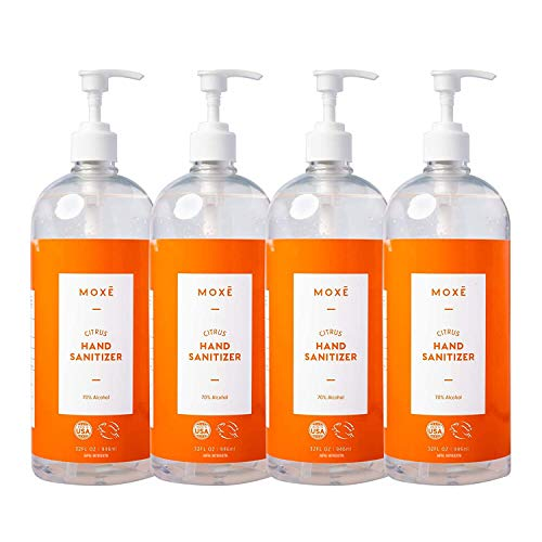 MOXE Hand Sanitizer Gel, Value Pack of 4, 32 oz Bottles, 70% Ethyl Alcohol Made in the USA, Protects Against Germs On-The-Go