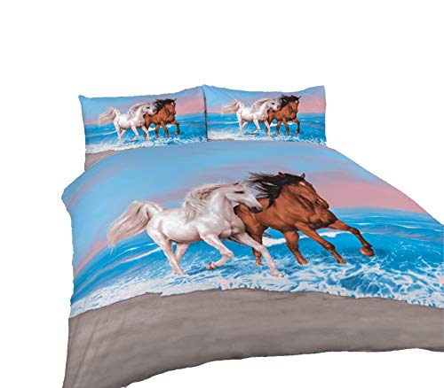 Comfy Nights 3D Design Animal Script Printed Duvet Cover Set, Horse Multi - Double