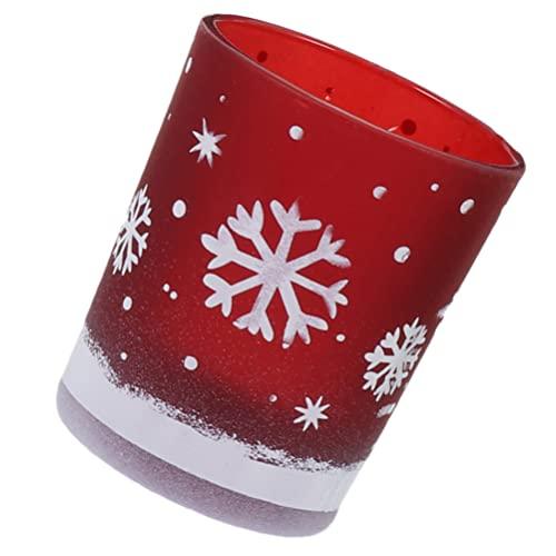 Portavelas de Cristal Decorativas de Navidad: Taza de Vela con Patrón de Copo de Nieve| Taza de Vela Decorativa| Portavelas para Fiesta de Navidad Adorno Rojo