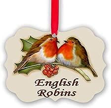 Voicpobo English Robins & Holly Acrylic Christmas Ornaments,Christmas Tree Decoration Ornaments,Keepsake Ornament