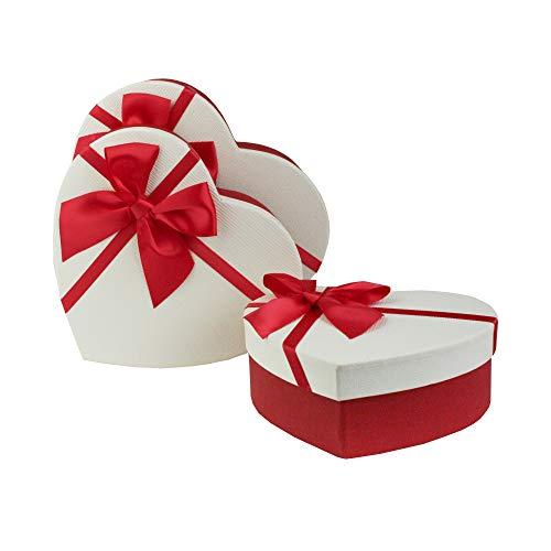 Emartbuy Set von 3 Starre Luxus Präsentierte Geschenkbox in Herzform, Texturiert Rote Box mit Creme Deckel, Punktmuster Innere und Satinschleife