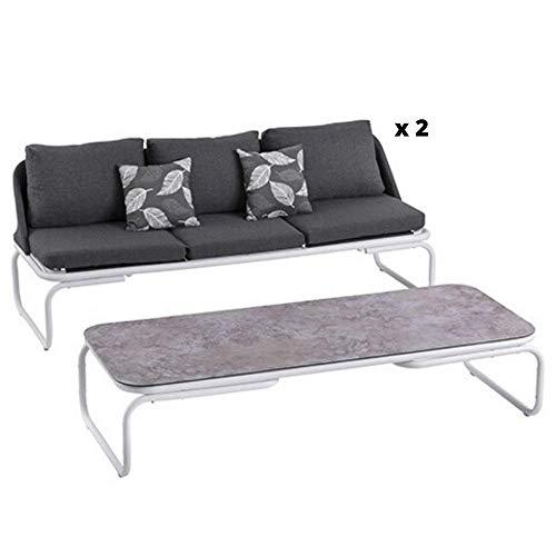 Les Jardins Salon de Jardin Bas d'Extérieur | Set Valongo Complet 2 Canapés 3 Places et Table Basse Rectangulaire Base Aluminium