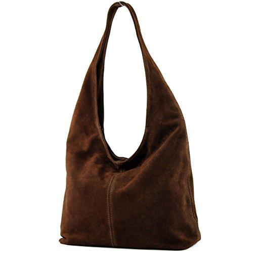 modamoda de - italiana de cuero bolso de gamuza T150, Color:Marrón chocolate