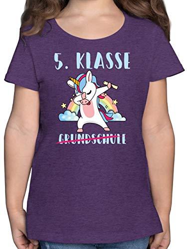 Einschulung und Schulanfang Geschenk - Grundschule 5. Klasse Einhorn - 152 (12/13 Jahre) - Lila Meliert - Einhorn - F131K - Mädchen Kinder T-Shirt