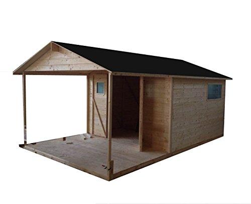 Cadema - Casetta da giardino con patio e finestre, 9+6 m² (19 mm) pavimento incluso