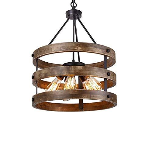 Lámpara de araña de madera maciza de estilo retro industrial de DD americano, creativa lámpara de hierro forjado para restaurante, salón, iluminación colgante, LD0107