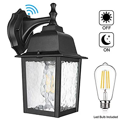 Dusk to Dawn Sensor Outdoor Wall Lantern Waterproof Exterior Wall Mount Lights, E26 LED Bulb Included, Anti-Rust Aluminum Matte Black Wall Sconce with Water Glass Shade for Garage, Patio, Hallway