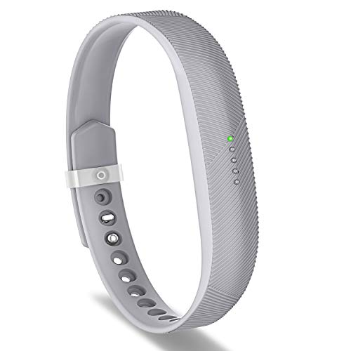 Greeninsync Compatible with Flex 2 Replacement Bands, Sports Classic Silicon Bracelet Strap Large W/Fastener Clasp Accessory Gray for Flex 2 Smart Watch Unique Design for Women Girls