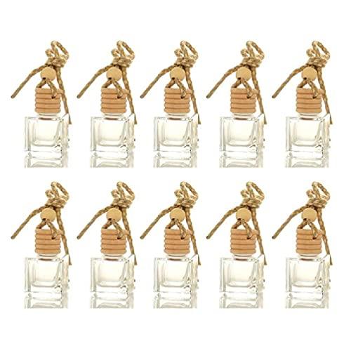 SHAOKAO 10 botellas de vidrio para colgar en el coche, perfumes vacíos, aromaterapia, difusor rellenable, fragancia fresca, adorno colgante
